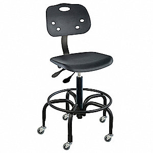 "Polypropylene Ergonomic Chair with 17"" to 22"" Seat Height Range and 300 lb. Weight Capacity, Black"
