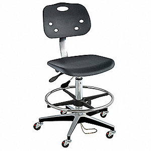 "Polypropylene Ergonomic Chair with 19 to 29"" Seat Height Range and 350 lb. Weight Capacity, Black"