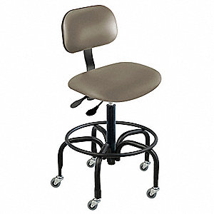 "Vinyl Ergonomic Chair with 27"" to 32"" Seat Height Range and 300 lb. Weight Capacity, Gray"