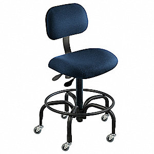 "Cloth Ergonomic Chair with 27"" to 32"" Seat Height Range and 300 lb. Weight Capacity, Navy"