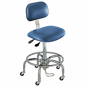 "Upholstered Vinyl Ergonomic Chair with 27 to 32"" Seat Height Range and 350 lb. Weight Capacity, Blue"