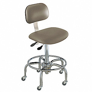 "Upholstered Vinyl Ergonomic Chair with 19"" to 26"" Seat Height Range and 300 lb. Weight Capacity, Gra"