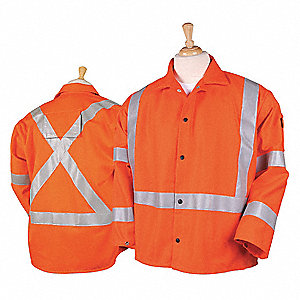 Flame-Resistant Coat,Orange/Silver,L