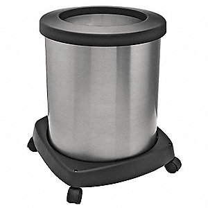 "10 gal. Round Open Top Decorative Wastebasket, 19-3/4""H, Silver"