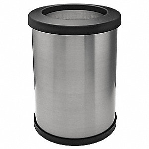 "12 gal. Round Open Top Trash Can, 20""H, Silver"