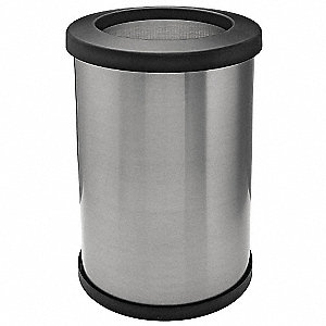 "14 gal. Round Open Top Decorative Trash Can, 23-15/16""H, Silver"