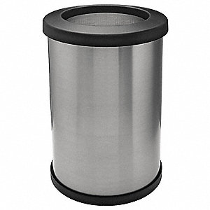 "20 gal. Round Open Top Decorative Trash Can, 26-3/8""H, Silver"