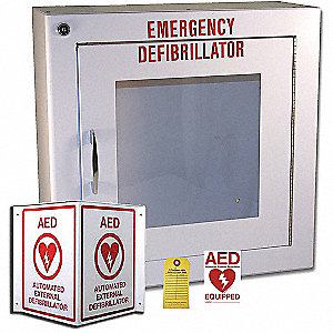 Alarmed Metal (white) AED Labeling/Storage Cabinet Package; For Use With AED / Defibrillator