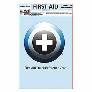 First Aid Reference Cards, Laminate, PK100