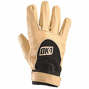 Impact Resistant Gloves, Leather Palm Material, Tan, 1 PR