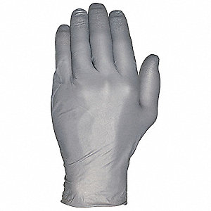 "9-1/2"" Powder Free Unlined Nitrile Disposable Gloves, Anthracite, Size  L, 100PK"