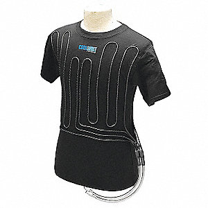 Cooling Shirt, 1 to 4 hr. Cooling Time, Black, XS