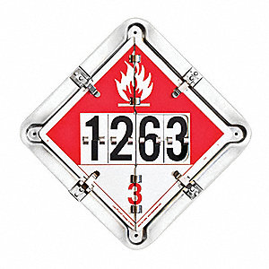 "13-1/2"" x 13-1/2"" Class 3, 5.1, 6, 8, 9 Aluminum Alloy Tanker Flip Placard, Black/White, Red, Yellow"