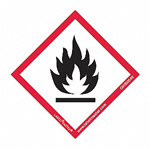 "GHS Flame Label,2""H,2""W,PK100"
