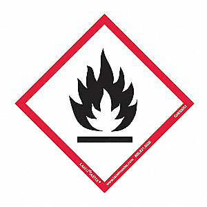 "GHS Flame Label,4""H,4""W,PK50"