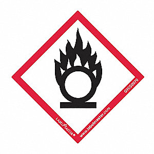 "GHS Flame Over Circle Label,2""H,2""W,PK50"