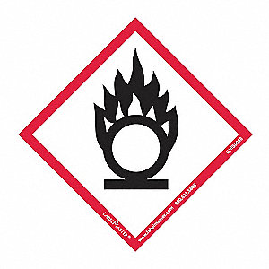 "GHS Flame Over Circle Label,4""H,4""W,PK50"