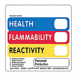 "Hazcom Label, 4""H, 4""W, PK500"