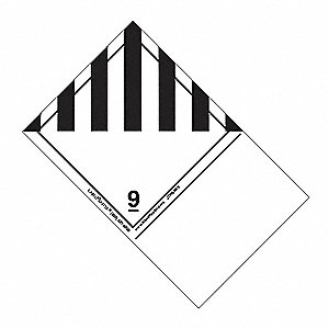 160mm x 100mm Class 9 Paper Shipping Name Label, White/Black