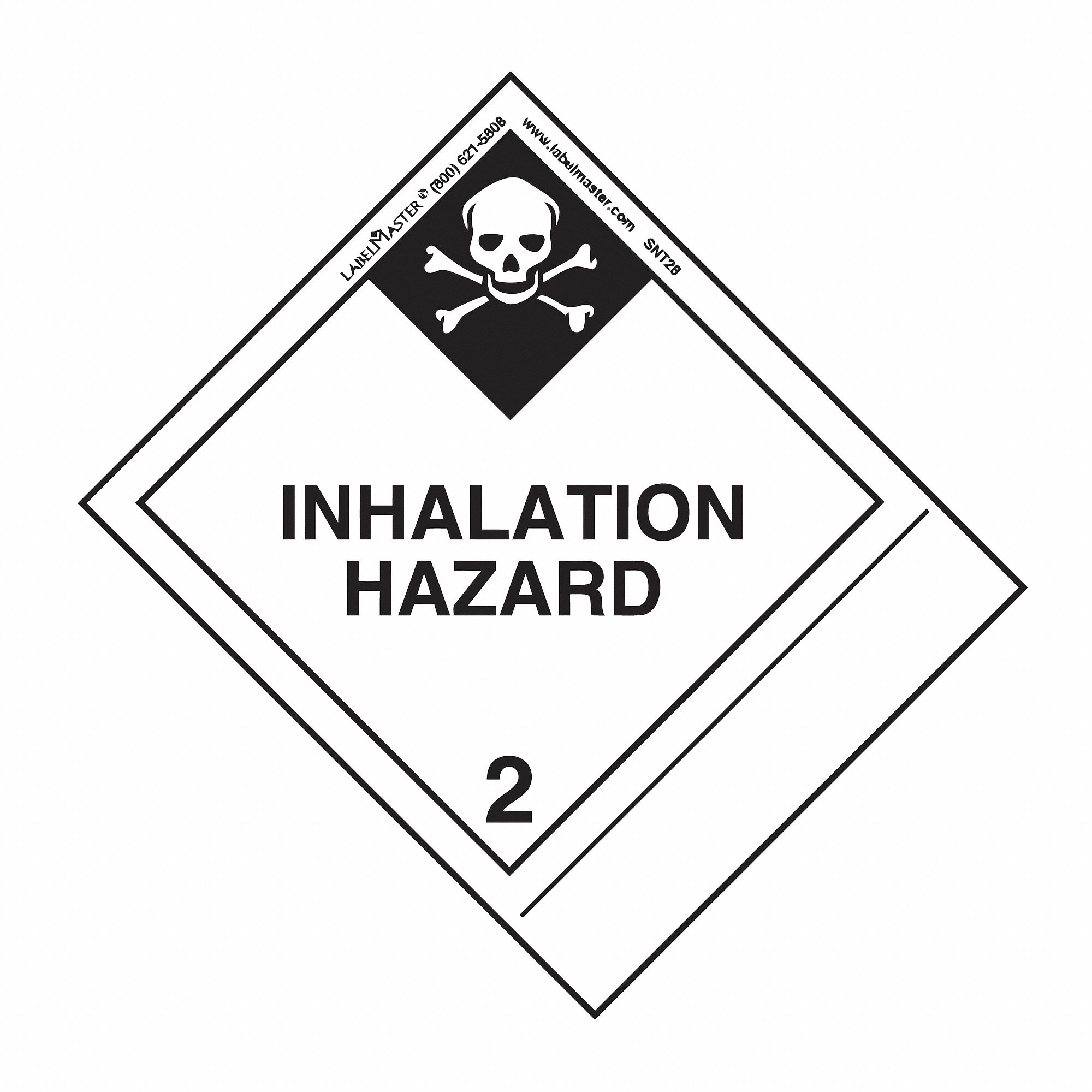 49 cfr 172 300 and 172 400 icao 5 2 and 5 3 imo 5 2 vehicle Kate Spade 120mm x 100mm class 2 paper inhalation hazard label white black