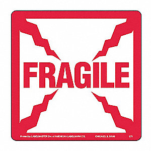 Fragile Lbl,4inx4in,Paper,Red/White,500