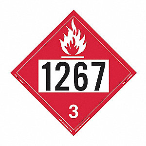 "10-3/4"" x 10-3/4"" Class 3 Vinyl Flammable Liquid Placard, Red/White"