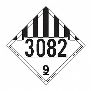 "10-3/4"" x 10-3/4"" Class 9 Vinyl Miscellaneous Dangerous Goods Placard, White/Black"
