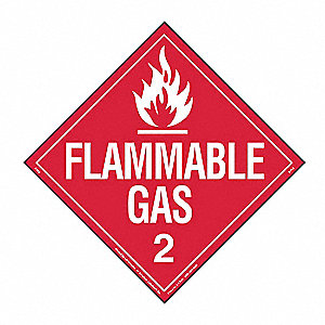 "10-3/4"" x 10-3/4"" Class 2 Self-Adhesive Vinyl Flammable Gas Placard, Red/White"