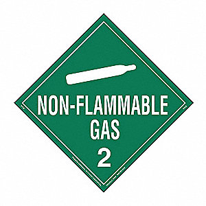"Non-Flammable Gas Placard,10-3/4""H"