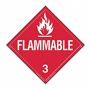 "10-3/4"" x 10-3/4"" Class 3 Removable Vinyl Flammable Liquid Placard, Red/White"