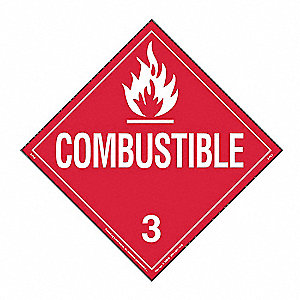 Combustible Liquid Placard,10-3/4inH