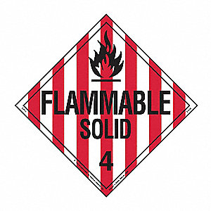 "10-3/4"" x 10-3/4"" Class 4 Vinyl Flammable Solid Placard, Black/Red, White"