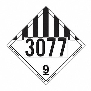 "10-3/4"" x 10-3/4"" Class 9 Removable Vinyl Miscellaneous Dangerous Goods Placard, White/Black"