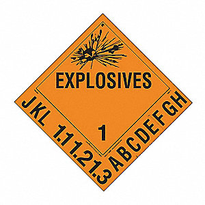 Explosive Placards, 10-3/4inx10-3/4in