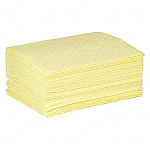 Absorbent Pad,Chem/Hazmat,Yellow,PK50