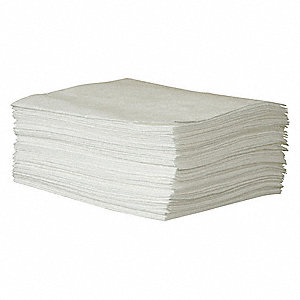 "19"" x 15"" Medium Absorbent Pad for Oil-Based Liquids, White, 50PK"