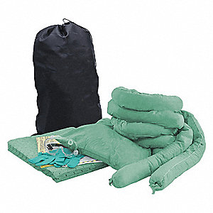 Spill Kit/Station, Bag, Chemical, Hazmat, 9 gal.