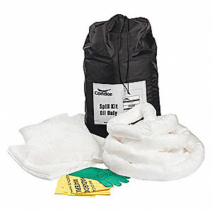 Spill Kit/Station, Bag, Oil-Based Liquids, 9 gal.