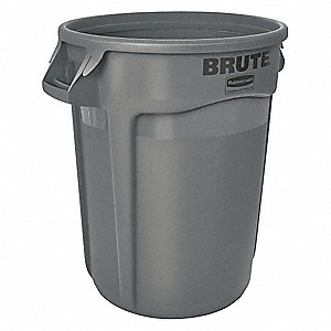 "BRUTE® 20 gal. Round Open Top Utility Trash Can, 23""H, Gray"