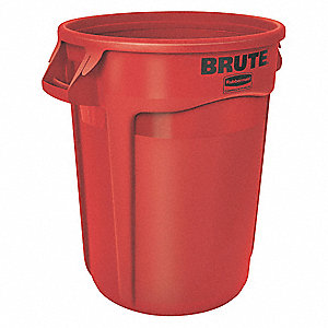 "BRUTE® 20 gal. Round Open Top Utility Trash Can, 23""H, Red"