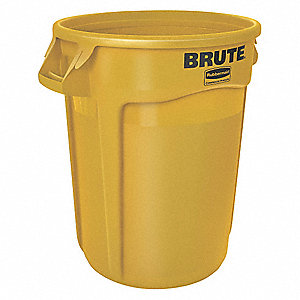 "BRUTE® 20 gal. Round Open Top Trash Can, 23""H, Yellow"