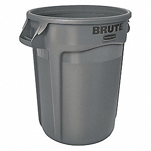 "BRUTE® 32 gal. Round Open Top Utility Trash Can, 27-1/4""H, Gray"