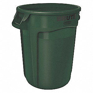 "BRUTE® 32 gal. Round Open Top Utility Trash Can, 27-3/4""H, Green"