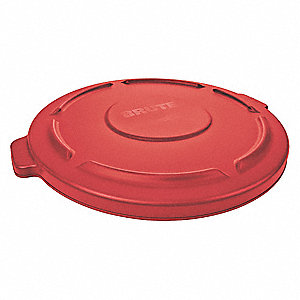 Trash Can Top,Flat,Snap-On Closure,Red