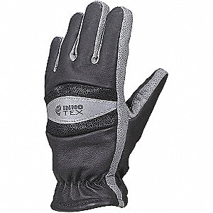 Firefighters Gloves, L, Gray and Black, PR
