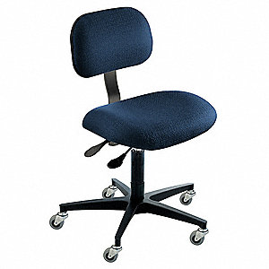 "Cloth Ergonomic Chair with 17 to 22"" Seat Height Range and 350 lb. Weight Capacity, Navy"