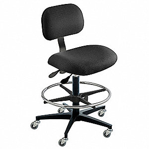 "Cloth Ergonomic Chair with 19"" to 26"" Seat Height Range and 300 lb. Weight Capacity, Black"