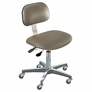 "Upholstered Vinyl Ergonomic Chair with 17 to 22"" Seat Height Range and 350 lb. Weight Capacity, Gray"