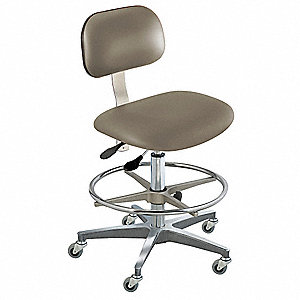 "Upholstered Vinyl Ergonomic Chair with 19 to 26"" Seat Height Range and 350 lb. Weight Capacity, Gray"
