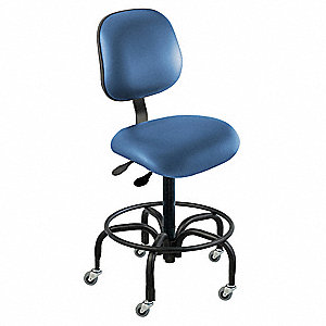 "Vinyl Ergonomic Chair with 17"" to 22"" Seat Height Range and 300 lb. Weight Capacity, Royal"